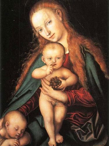 Madonna con bambino e giovanni battista dormiente di Lucas Cranach